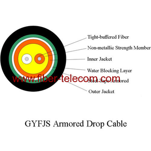 GYFJS Outdoor Armored Drop Cable 2 Cores