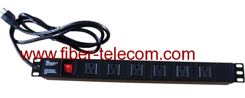 "19"" USA type PDU socket 6 ways with power cable"