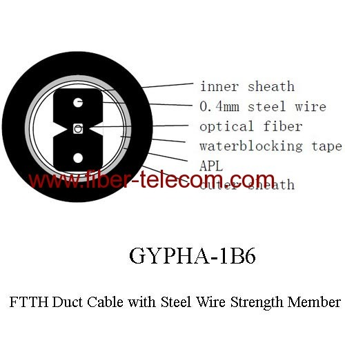 GYPHA-1B6 FTTH Duct Cable 1 Core with 0.4mm Steel Wire Strength Member
