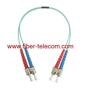 ST to ST OM3 Duplex AQUA Fiber Patch Cord